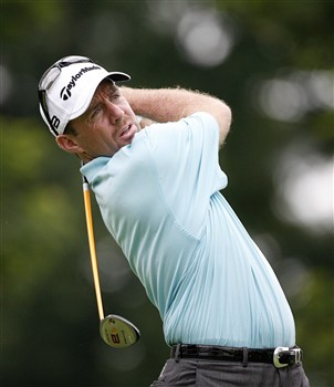BETHESDA, MD - JULY 4: Rod Pampling of Australia hits his tee shot on the 12th hole during the second round of the AT&T National at Congressional Country Club on July 4, 2008 in Bethesda, Maryland. (Photo by Hunter Martin/Getty Images)