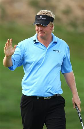 MADRID, SPAIN - OCTOBER 11:  Ross McGowan of England celebrates on the 9th green during the Final Round of the Madrid Masters at Cantro Nacional De Golf on October 9, 2009 in Madrid, Spain.  (Photo by Ian Walton/Getty Images)