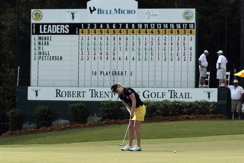 MOBILE, AL - MAY 13: Morgan Pressel putts on the 18th green during first round play in Bell Micro LPGA Classic at the Magnolia Grove Golf Course on May 13, 2010 in Mobile, Alabama. (Photo by Dave Martin/Getty Images)