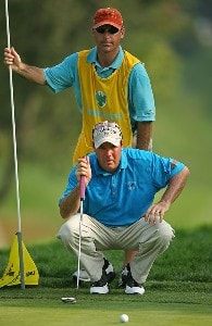 Rich Beem lines up a putt with his caddie Bill Heim on the 14th hole during the third round of The Barclays, the inaugural event of the new PGA TOUR Playoffs for the FedExCup at Westchester Country Club on August 25, 2007 in Harrison, New York. PGA TOUR - 2007 The Barclays - Third RoundPhoto by M. Ehrmann/WireImage.com