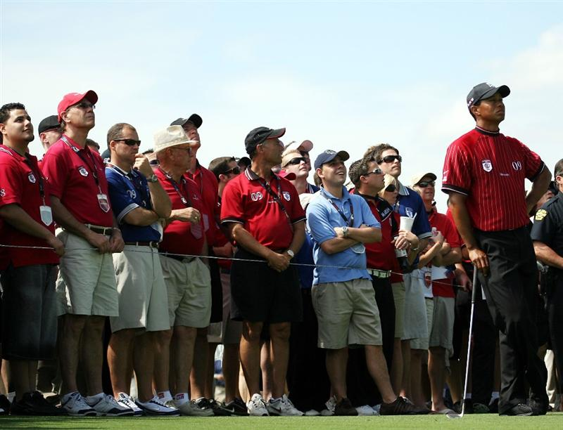 ORLANDO, FL - MARCH 17:  Tiger Woods waits to hit  on the second hole at the Tavistock Cup on March 17, 2009 at Lake Nona Country Club in Orlando, Florida.  (Photo by Marc Serota/Getty Images)