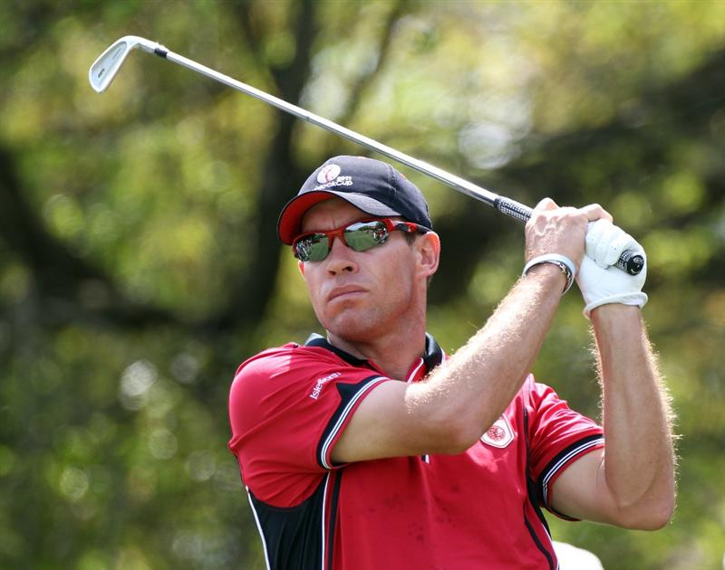 WINDERMERE, FL - MARCH 15:  Brian Davis of England plays a shot on the 5th hole during the second day of the Tavistock Cup at Isleworth Golf & Country Club on March 15, 2011 in Windermere, Florida.  (Photo by Sam Greenwood/Getty Images)