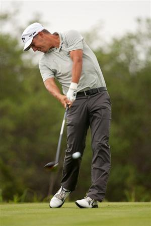 SAN ANTONIO, TX - APRIL 14: Fredrik Jacobson of Sweden hits a tee shot during the first round of the Valero Texas Open at the AT&T Oaks Course at TPC San Antonio on April 14, 2011 in San Antonio, Texas. (Photo by Darren Carroll/Getty Images)
