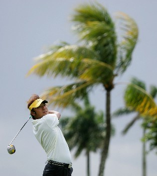 MIAMI - MARCH 20:  Shingo Katayama of Japan tees off on the second hole during the first round of the 2008 World Golf Championships CA Championship at the Doral Golf Resort & Spa, on March 20, 2008 in Miami, Florida.  (Photo by Warren Little/Getty Images)