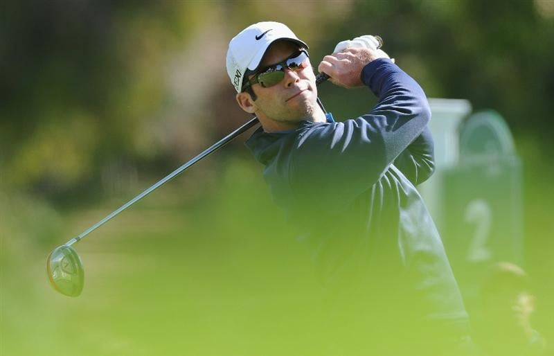 PACIFIC PALISADES, CA - FEBRUARY 19:  Paul Casey of England plays his tee shot on the first hole during the third round of the Northern Trust Open at Riviera Country Club on February 19, 2011 in Pacific Palisades, California.  (Photo by Stuart Franklin/Getty Images)