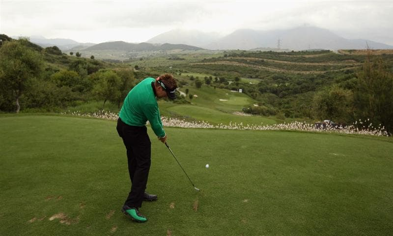 CASARES, SPAIN - MAY 18:  Ian Poulter of England hits his tee-shot on the tenth hole during the Pro Am prior to the start of the Volvo World Match Play Championship at Finca Cortesin on May 18, 2011 in Casares, Spain.  (Photo by Andrew Redington/Getty Images)
