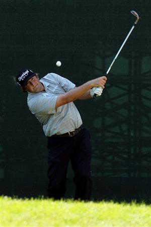 NORTON, MA - SEPTEMBER 04:  Steve Marino hits a shot on the 17th hole during the second round of the Deutsche Bank Championship at TPC Boston on September 4, 2010 in Norton, Massachusetts.  (Photo by Mike Ehrmann/Getty Images)