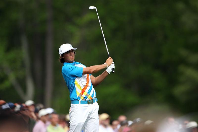 AUGUSTA, GA - APRIL 08:  Rickie Fowler watches his tee shot on the 12th hole during the second round of the 2011 Masters Tournament at Augusta National Golf Club on April 8, 2011 in Augusta, Georgia.  (Photo by Andrew Redington/Getty Images)