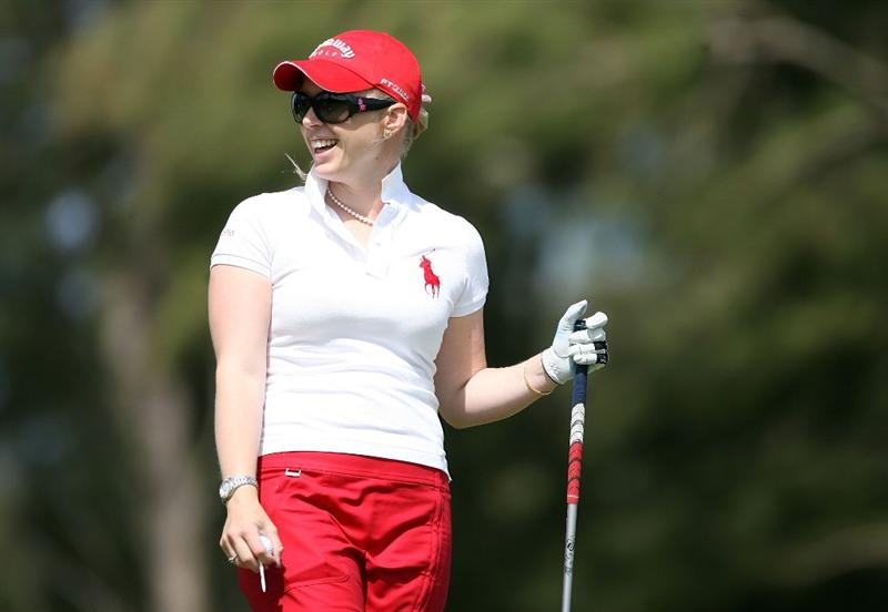 KAHUKU, HI - FEBRUARY 13:  Morgan Pressel has a laugh before hitting her tee shot on the 3rd hole during the second round of the SBS Open on February 13, 2009 at the Turtle Bay Resort in Kahuku, Hawaii.  (Photo by Andy Lyons/Getty Images)