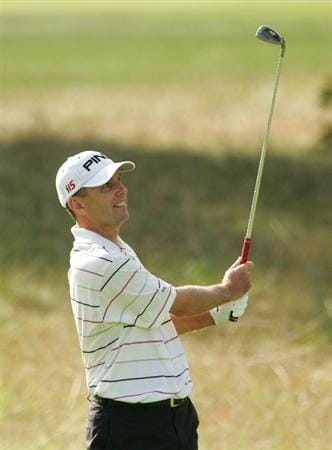 NORTON, MA - SEPTEMBER 06:  Kevin Sutherland plays his second shot on the 15th hole during the third round of the Deutsche Bank Championship at TPC Boston held on September 6, 2009 in Norton, Massachusetts.  (Photo by Michael Cohen/Getty Images)