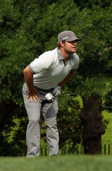 IRVING, TX - APRIL 25:  Ryan Moore watches his tee shot on the 12th hole during the second round of the EDS Byron Nelson Championship at TPC Four Seasons Resort Las Colinas on April 25, 2008 in Irving, Texas.  (Photo by Stephen Dunn/Getty Images)