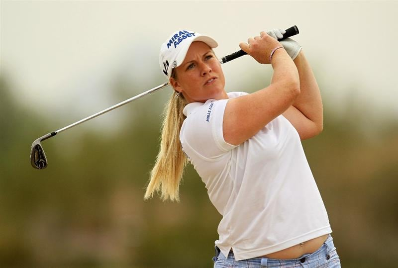 PHOENIX, AZ - MARCH 20:  Brittany Lincicome hits her second shot on the 12th hole during the final round of the RR Donnelley LPGA Founders Cup at Wildfire Golf Club on March 20, 2011 in Phoenix, Arizona.  (Photo by Stephen Dunn/Getty Images)