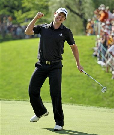 DUBLIN, OH - JUNE 06:  Justin Rose of England celebrates after finishing the 18th hole during the final round of The Memorial Tournament presented by Morgan Stanley at Muirfield Village Golf Club on June 6, 2010 in Dublin, Ohio.  (Photo by Andy Lyons/Getty Images)