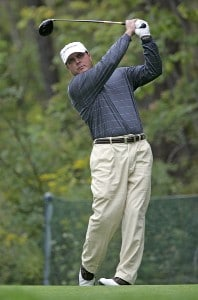 Vance Veazey hits his tee shot on the 5th hole during the second round of the 84 LUMBER Classic held on the Mystic Rock Course at Nemacolin Woodlands Resort & Spa in Farmington, Pennsylvania, on September 15, 2006.Photo by Hunter Martin/WireImage.com