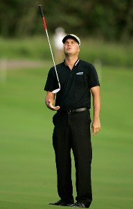 Daniel Chopra reacts to his missed putt at the 18th green during the third round of the Mercedes-Benz Championship at the Plantation Course at Kapalua on January 5, 2008 in Kapalua, Maui, Hawaii. PGA TOUR - 2008 Mercedes-Benz Championship - Third RoundPhoto by Stan Badz/PGA TOUR/WireImage.com