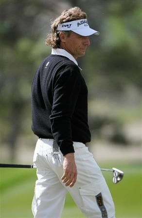 PARKER, CO. - MAY 27:   Bernhard Langer of Germany looks over a birdie putt on  the 14th green during the first round of the Senior PGA Championship at the Colorado Golf Club  on May 27, 2010 in Parker, Colorado.  (Photo by Marc Feldman/Getty Images)