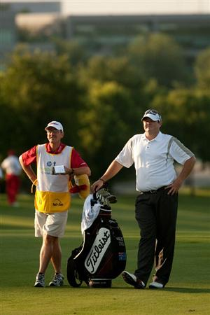 IRVING, TX - MAY 20: Jarrod Lyle of Australia stands with his golf bag during the first round of the HP Byron Nelson Championship at TPC Four Seasons Resort Las Colinas on May 20, 2010 in Irving, Texas. (Photo by Darren Carroll/Getty Images)