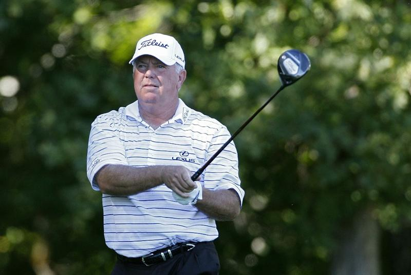 POTOMAC, MD - OCTOBER 08:  Mark O'Meara hits his drive on the eighth tee box during the second round of the Constellation Energy Senior Players Championship held at TPC Potomac at Avenel Farm on October 8, 2010 in Potomac, Maryland.  (Photo by Michael Cohen/Getty Images)