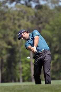 HUMBLE, TX - APRIL 5:   Matthew Goggin hits his approach shot to the 5th hole during the third round of the Shell Houston Open at Redstone Golf Club on April 5, 2008 in Humble, Texas.  (Photo by Marc Feldman/Getty Images)