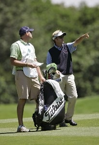 Brett Quigley and his caddie during the third round of the Barclays Classic held at Westchester Country Club in Rye, New York on June 10, 2006.Photo by Chris Condon/PGA TOUR/WireImage.com