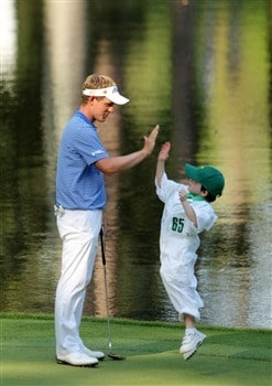 AUGUSTA, GA - APRIL 09:  Luke Donald of England slaps five with his caddie during the third day of practice prior to the start of the 2008 Masters Tournament at Augusta National Golf Club on April 9, 2008 in Augusta, Georgia.  (Photo by Harry How/Getty Images)
