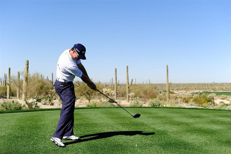 MARANA, AZ - FEBRUARY 16:  Zach Johnson tees off during the second practice round prior to the start of the Accenture Match Play Championship at the Ritz-Carlton Golf Club on February 16, 2010 in Marana, Arizona.  (Photo by Stuart Franklin/Getty Images)