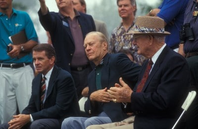 Commissioner Tim Finchem, Former President Gerald R. Ford and Byron Nelson during the 1994 Presidents Cup on September 16-18, 1994 at Robert Trent Jones GC in  Prince William County, Virginia. PGA TOUR - Byron Nelson - File PhotosPhoto by PGA TOUR Photo Services/PGA TOUR/WireImage.com