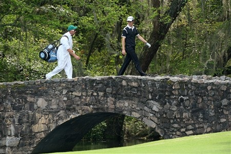 AUGUSTA, GA - APRIL 10:  Justin Rose of England walks over the Nelson Bridge during the first round of the 2008 Masters Tournament at Augusta National Golf Club on April 10, 2008 in Augusta, Georgia.  (Photo by David Cannon/Getty Images)