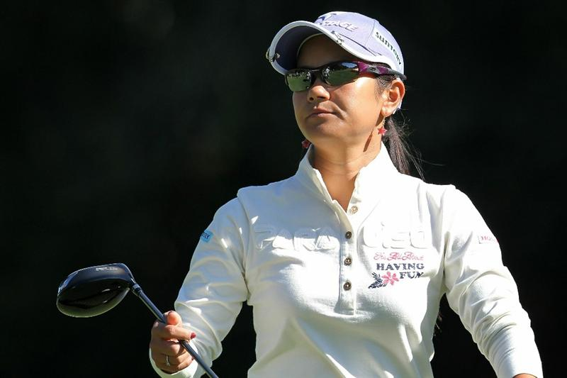SHIMA, JAPAN - NOVEMBER 04:  Ai Miyazato of Japan looks on after playing a practice shot on the 9th hole during previews ahead of the Mizuno Classic at Kintetsu Kashikojima Country Club on November 4, 2010 in Shima, Mie, Japan.  (Photo by Kiyoshi Ota/Getty Images)
