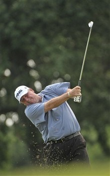 MEMPHIS, TN - JUNE 06: Mark Calcavecchia hits his approach shot into the 9th hole during the second round of the Standford St. Jude Championship at the TPC Southwind on June 6, 2008 in Memphis, Tennessee (Photo by Marc Feldman/Getty Images)