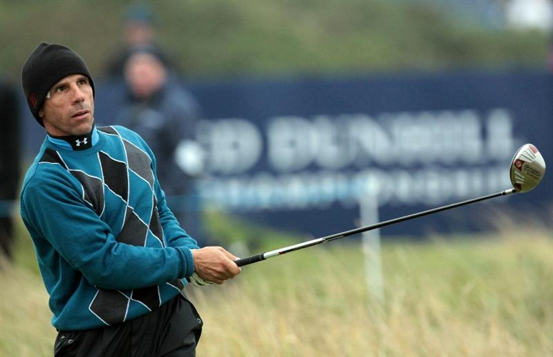 CARNOUSTIE, SCOTLAND - OCTOBER 09:  Gianfranco Zola drives off the second tee during the third round of The Alfred Dunhill Links Championship at the Carnoustie Golf Links on October 9, 2010 in Carnoustie, Scotland.  (Photo by David Cannon/Getty Images)