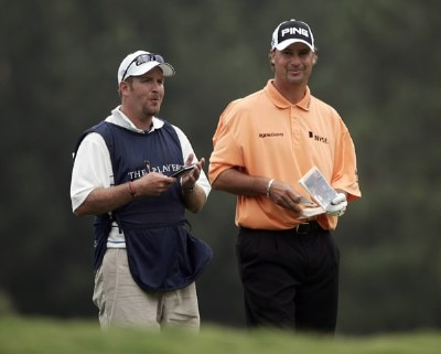 Chris DiMarco and his caddy during the first round of THE PLAYERS Championship held on THE PLAYERS Stadium Course at TPC Sawgrass in Ponte Vedra Beach, Florida, on May 10, 2007. PGA TOUR - 2007 THE PLAYERS Championship - First RoundPhoto by Sam Greenwood/WireImage.com