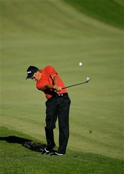 BLOOMFIELD HILLS, MI - AUGUST 08: Toru Taniguchi of Japn plays a shot on the first hole during round two of the 90th PGA Championship at Oakland Hills Country Club on August 8, 2008 in Bloomfield Township, Michigan.  (Photo by Hunter Martin/Getty Images)
