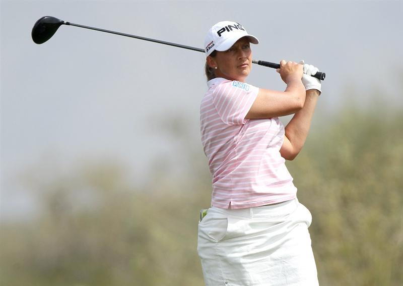 PHOENIX, AZ - MARCH 19:  Angela Stanford hits her tee shot on the 18th hole during the second round of the RR Donnelley LPGA Founders Cup at Wildfire Golf Club on March 19, 2011 in Phoenix, Arizona.  (Photo by Stephen Dunn/Getty Images)