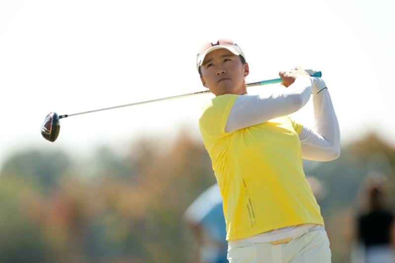 PRATTVILLE, AL - OCTOBER 9: Amy Yang of South Korea follows through on a tee shot during the third round of the Navistar LPGA Classic at the Senator Course at the Robert Trent Jones Golf Trail on October 9, 2010 in Prattville, Alabama. (Photo by Darren Carroll/Getty Images)