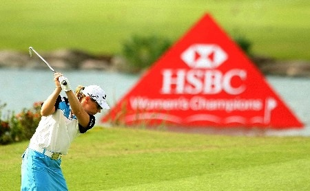 SINGAPORE - FEBRUARY 27:  Annika Sorenstam of Sweden hits a shot during the pro-am prior to the start of the HSBC Women's Champions at Tanah Merah Country Club on February 27, 2008 in Singapore.  (Photo by Scott Halleran/Getty Images)