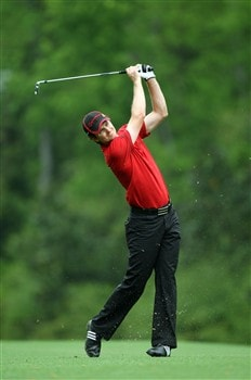 AUGUSTA, GA - APRIL 12:  Justin Rose of England hits his approach shot on the fifth hole during the third round of the 2008 Masters Tournament at Augusta National Golf Club on April 12, 2008 in Augusta, Georgia.  (Photo by David Cannon/Getty Images)