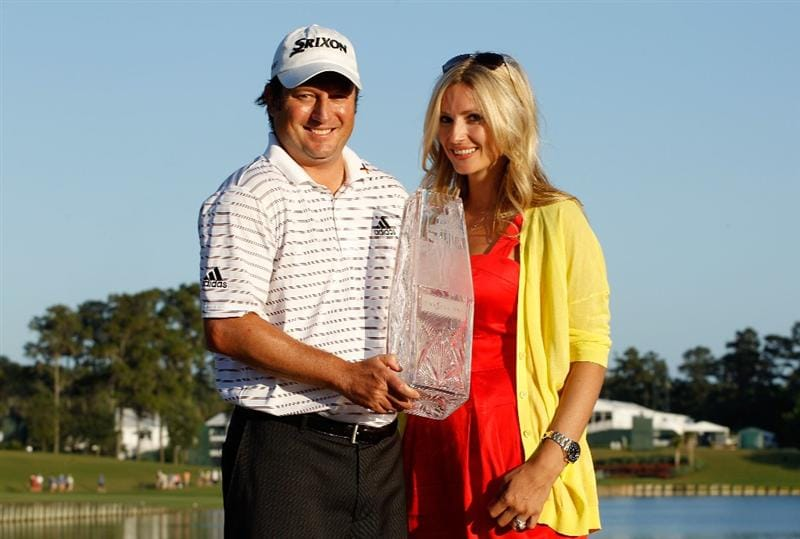 PONTE VEDRA BEACH, FL - MAY 09:  Tim Clark of South Africa poses with his wife Candace and the trophy after winning THE PLAYERS Championship held at THE PLAYERS Stadium course at TPC Sawgrass on May 9, 2010 in Ponte Vedra Beach, Florida.  (Photo by Scott Halleran/Getty Images)
