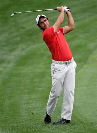 DUBAI, UNITED ARAB EMIRATES - FEBRUARY 06:  Edorado Molinari of Italy during the third round of the Omega Dubai Desert Classic on the Majlis Course at the Emirates Golf Club on February 6, 2010 in Dubai, United Arab Emirates.  (Photo by Ross Kinnaird/Getty Images)