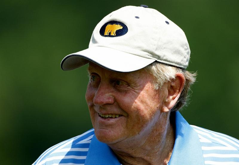 DUBLIN, OH - JUNE 02:  Jack Nicklaus walks off a tee box during the Memorial Skins Game prior to the start of the 2010 Memorial Tournament at the Muirfield Village Golf Club on June 2, 2010 in Dublin, Ohio.  (Photo by Scott Halleran/Getty Images)