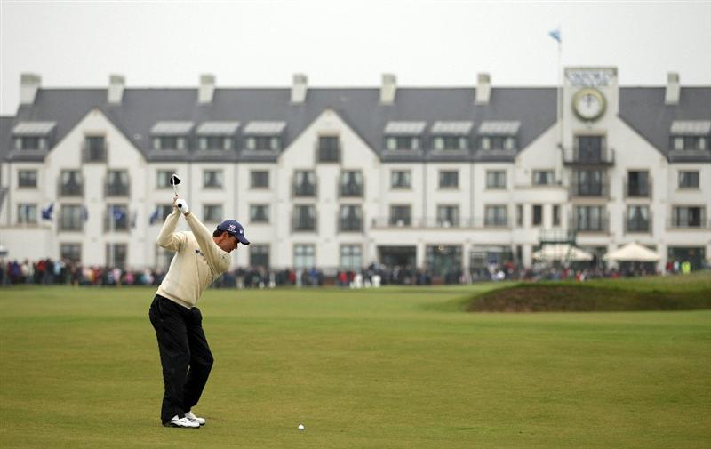 CARNOUSTIE, SCOTLAND - OCTOBER 09:  Padraig Harrington of Ireland plays his second shot to the 18th green during the third round of The Alfred Dunhill Links Championship at the Carnoustie Golf Links on October 9, 2010 in Carnoustie, Scotland.  (Photo by Andrew Redington/Getty Images)