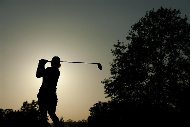 ROGERS, AR - SEPTEMBER 10:  Becky Morgan of Whales makes a tee shot on the 9th tee during the first round of the P&G NW Arkansas Championship at the Pinnacle Country Club on September 10, 2010 in Rogers, Arkansas.  (Photo by Robert Laberge/Getty Images)