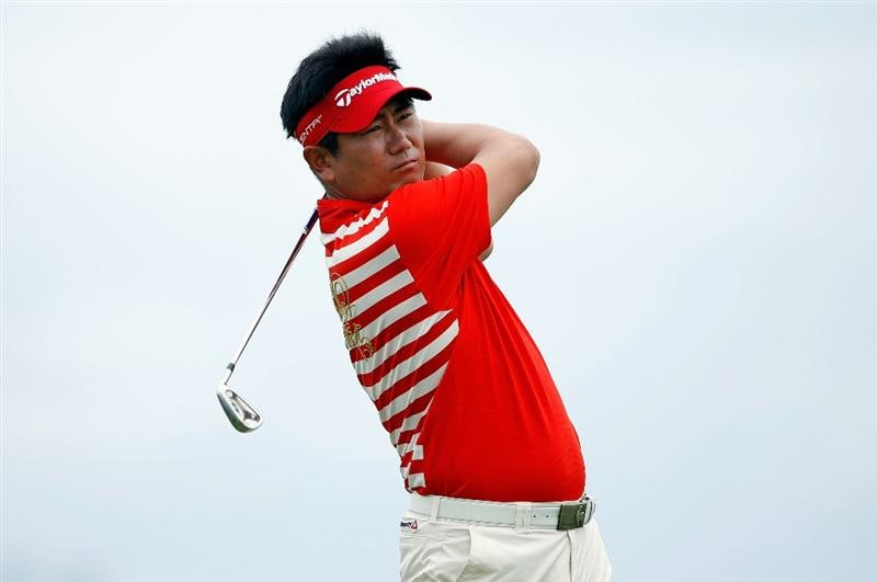 SOUTHAMPTON, BERMUDA - OCTOBER 21:  Y.E. Yang  of South Korea, the 2009 PGA Championship winner, hits his tee shot on the 10th hole during the final round of the PGA Grand Slam of Golf on October 21, 2009 at Port Royal Golf Course in Southampton, Bermuda.  (Photo by Andy Lyons/Getty Images)