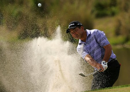 PALM BEACH GARDENS, FL - MARCH 1:  Jose Coceres of Argentina plays a shot from the bunker on the sixth hole during the third round of the Honda Classic at PGA National Resort and Spa March 1, 2008 in Palm Beach Gardens, Florida.  (Photo by Sam Greenwood/Getty Images)