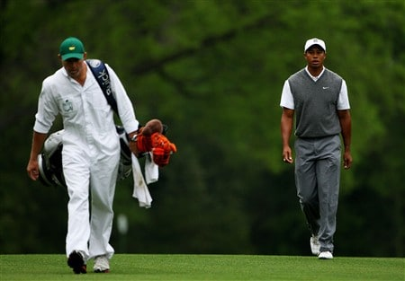 AUGUSTA, GA - APRIL 07:  Tiger Woods and his caddie Steve Williams walk up a fairway during the first day of practice prior to the start of the 2008 Masters Tournament at Augusta National Golf Club on April 7, 2008 in Augusta, Georgia.  (Photo by Andrew Redington/Getty Images)