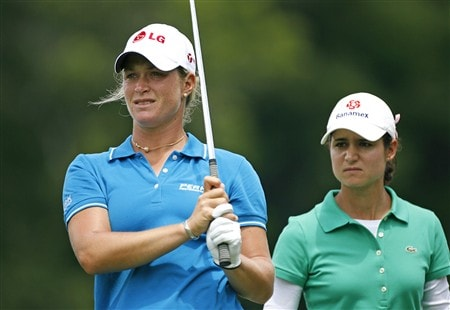 WILLIAMSBURG, VA - MAY 9: Suzann Pettersen of Norway (L) and Lorena Ochoa of Mexico stand on the 13th tee during the second round of the Michelob Ultra Open at Kingsmill Resort & Spa on May 9, 2008 in Williamsburg, Virginia. (Photo by Hunter Martin/Getty Images)