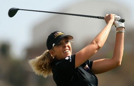 HUIXQUILUCAN, MEXICO - MARCH 16:  Jill McGill of the USA hits her tee shot on the 16th hole during the final round of the MasterCard Classic at Bosque real Country Club on March 16, 2008 in Huixquilucan, Mexico  (Photo by Scott Halleran/Getty Images)