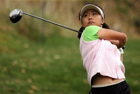 HUIXQUILUCAN, MEXICO - MARCH 10:  Mi Hyun Kim of South Korea hits her tee shot on the tenth hole during the second round of the MasterCard Classic at Bosque Real Country Club on March 10, 2007 in Huixquilucan, Mexico.  (Photo by Scott Halleran/Getty Images)