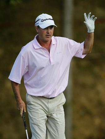 CANONSBURG, PA - SEPTEMBER 04:  Geoffrey Sisk waves to fans after chipping to the 18th green during the third round of the Mylan Classic presented by CONSOL Energy at Southpointe Golf Club on September 4, 2010 in Canonsburg, Pennsylvania.  (Photo by Gregory Shamus/Getty Images)