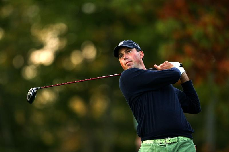 VERONA, NY - OCTOBER 04:  Matt Kuchar tees off on the 17th hole during the final round of the 2009 Turning Stone Resort Championship at Atunyote Golf Club held on October 4, 2009 in Verona, New York.  (Photo by Chris Trotman/Getty Images)